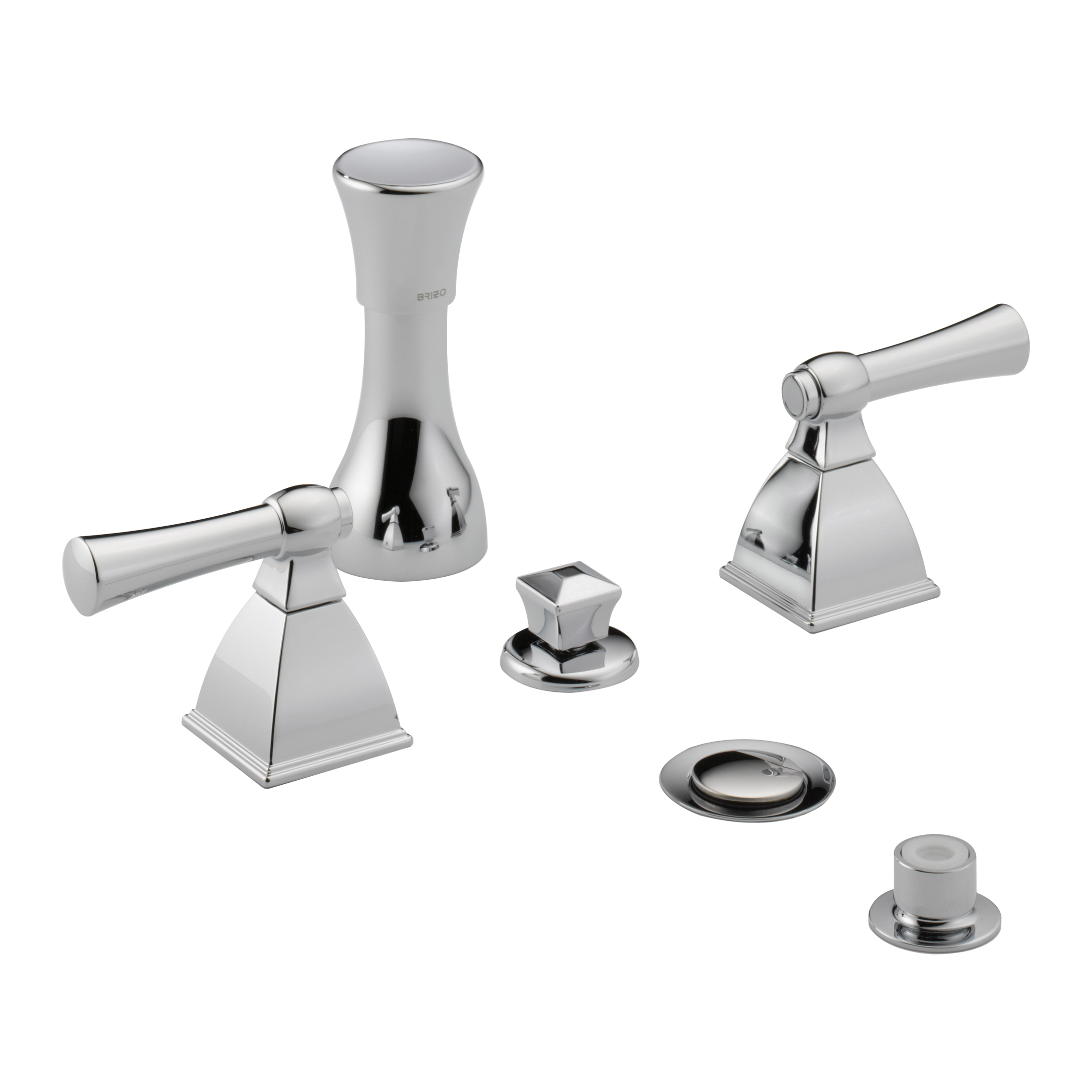 Brizo® 6340-PC Vesi® Bidet Faucet, 5 to 8 in Center, 3 Handles, Pop-Up Drain, Chrome Plated, Domestic, Commercial