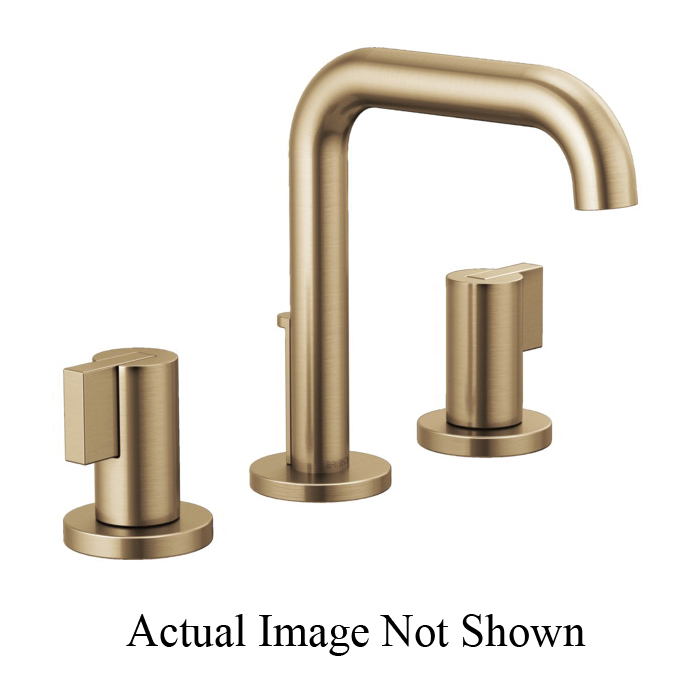Brizo® 65335LF-GLLHP Litze™ Widespread Lavatory Faucet Without Handle, 1.5 gpm, 5 in H Spout, 6 to 16 in Center, Luxe Gold, Pop-Up Drain, Import, Commercial