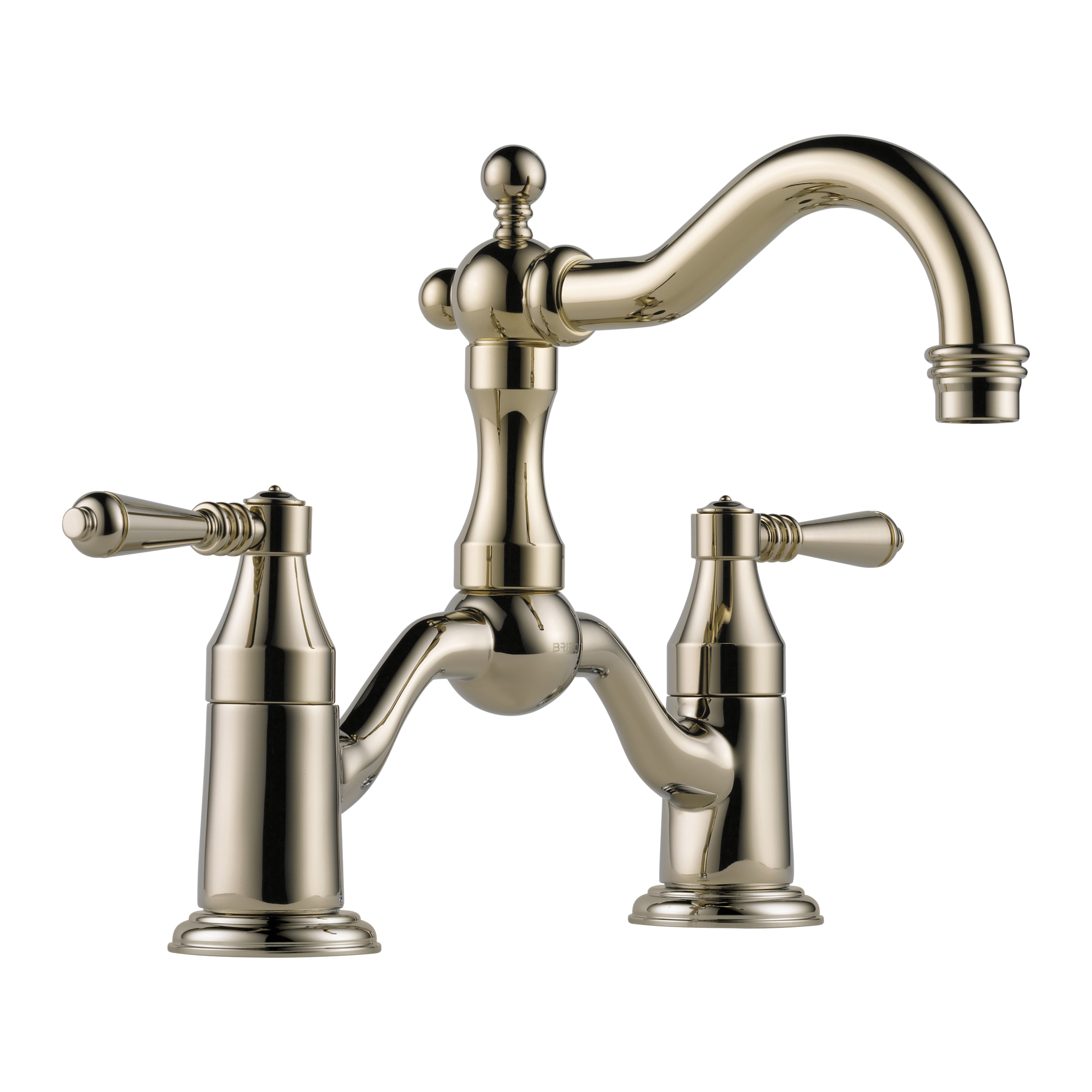 Brizo® 65536LF-PN Tresa® Widespread Bridge Lavatory Faucet, 1.5 gpm, 5-1/2 in H Spout, 8 in Center, 2 Handles, Pop-Up Drain, Polished Nickel, Domestic, Commercial