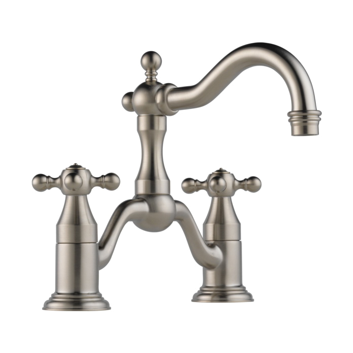 Brizo® 65538LF-BN-ECO Tresa® Widespread Bridge Lavatory Faucet, 1.2 gpm, 5-1/2 in H Spout, 8 in Center, 2 Handles, Pop-Up Drain, Brushed Nickel, Domestic, Commercial