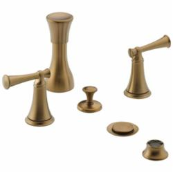 Brizo® 68405-BZLHP Baliza® Widespread Bidet Faucet Without Handle, 5 to 8 in Center, Pop-Up Drain, Brilliance® Brushed Bronze, Domestic, Commercial