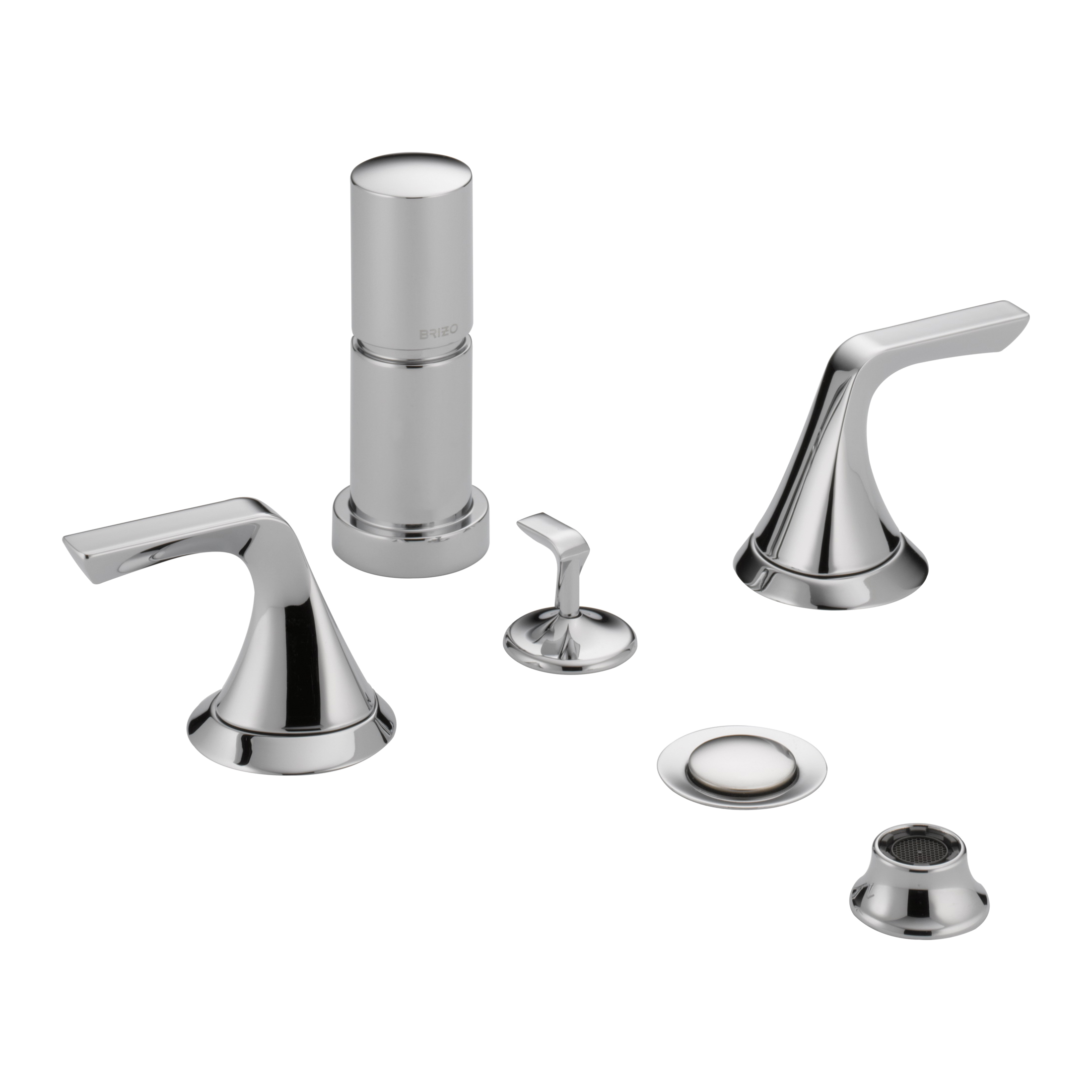 Brizo® 68450-PC Sotria™ Widespread Bidet Faucet, 5 to 8 in Center, 2 Handles, Pop-Up Drain, Chrome Plated, Domestic, Commercial