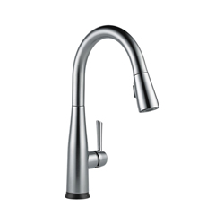 DELTA® 9113T-AR-DST Essa® Kitchen Faucet, 1.8 gpm, 8 in Center, Arctic™ Stainless Steel, 1 Handle, (6) AA Battery, Domestic, Commercial