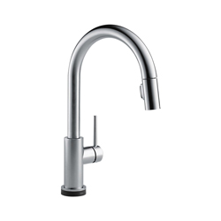 DELTA® 9159T-AR-DST Trinsic® Kitchen Faucet, 1.8 gpm, 8 in Center, Arctic™ Stainless Steel, 1 Handle, (6) AA Battery, Domestic, Commercial