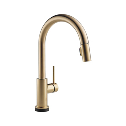 DELTA® 9159T-CZ-DST Trinsic® Kitchen Faucet, 1.8 gpm, 8 in Center, Champagne Bronze, 1 Handle, (6) AA Battery, Domestic, Commercial