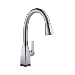 DELTA® 9183T-AR-DST Mateo® Kitchen Faucet, 1.8 gpm, 8 in Center, Arctic™ Stainless Steel, 1 Handle, (6) AA Battery, Domestic, Commercial