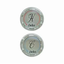 DELTA® RP19659 Replacement Two Button Set, For Use With (2) Clear Kitchen Faucet Handle, Plastic, Chrome Plated, Domestic