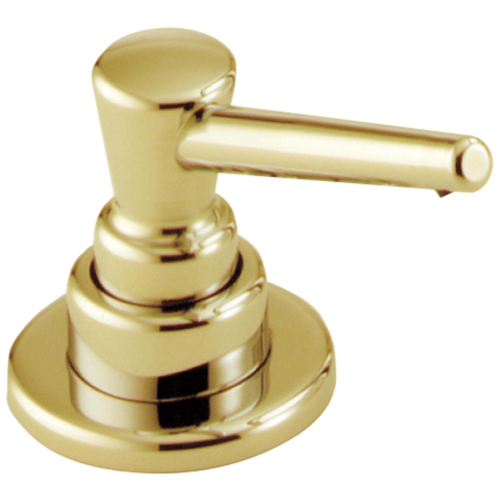 DELTA® RP1001PB Transitional Soap/Lotion Dispenser, 13 oz Bottle, Deck Mount, Plastic, Domestic