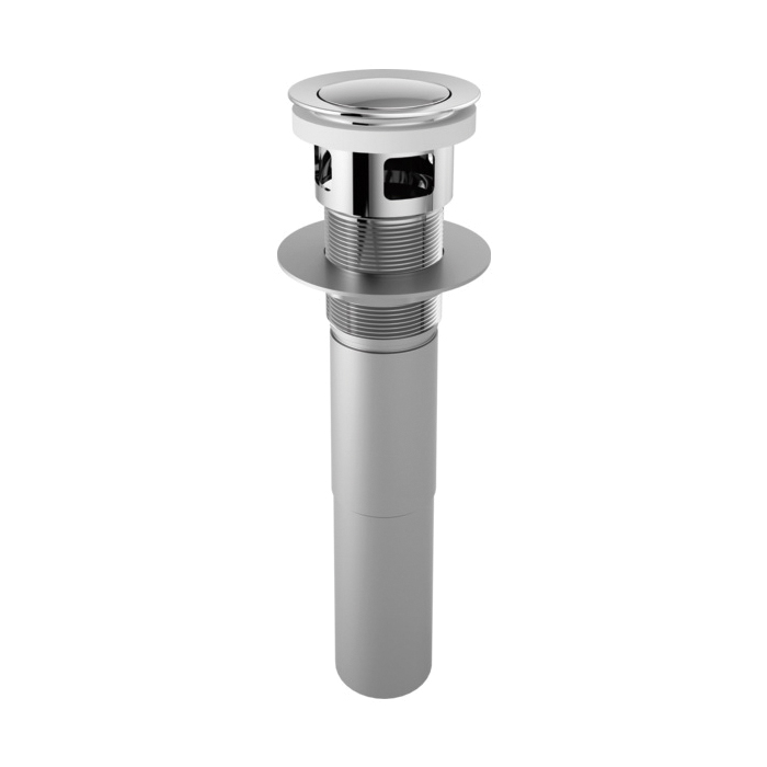 Brizo® RP81628PC Pushbutton Pop-Up Drain Assembly With Overflow, 2-1/8 in, 2-1/2 in Grid, Brass Drain, Chrome Plated, Import