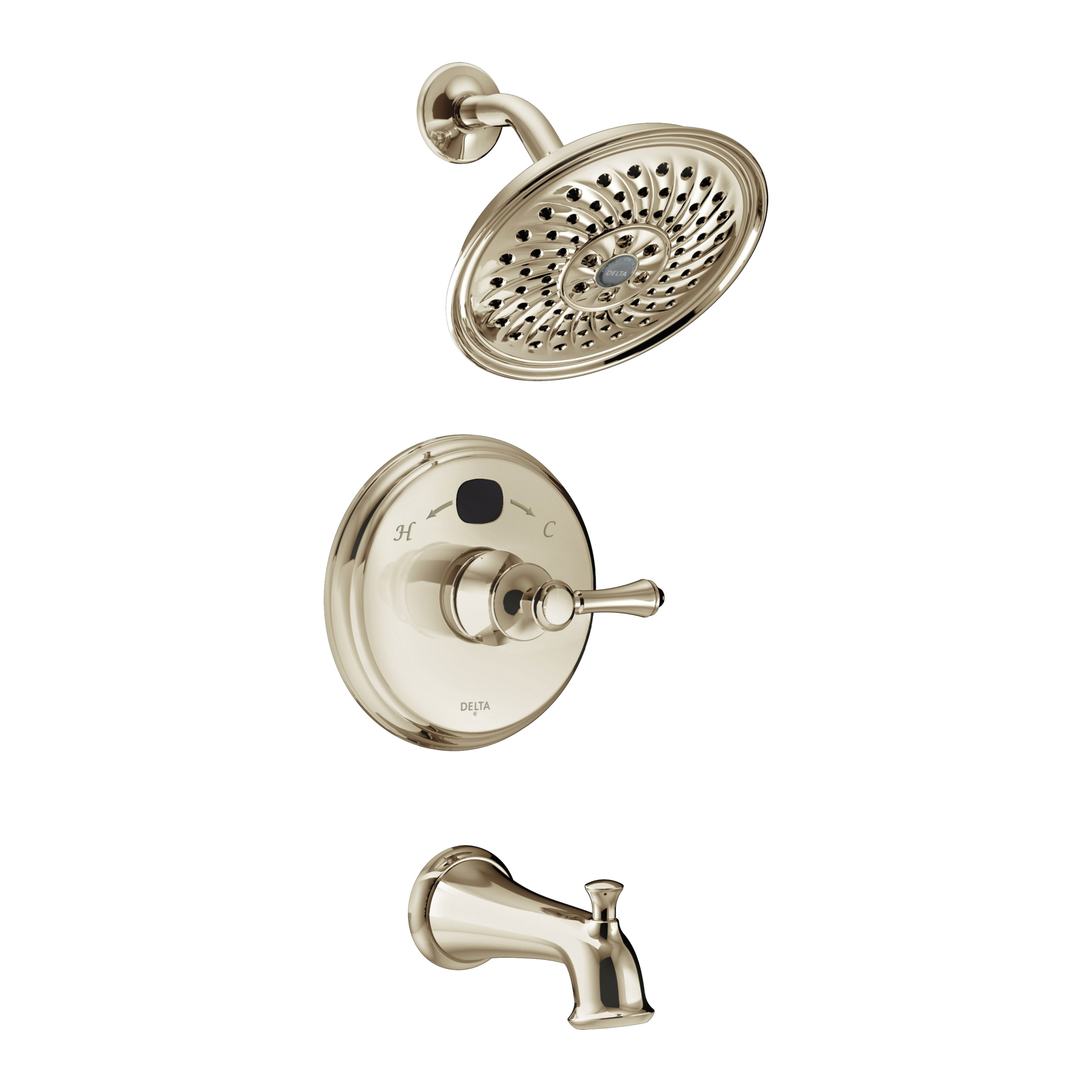 DELTA® T14400-PNT2O Monitor® 14 Traditional Tub and Shower Faucet Trim, 2 gpm Shower, Hand Shower Yes/No: No, Brilliance® Polished Nickel