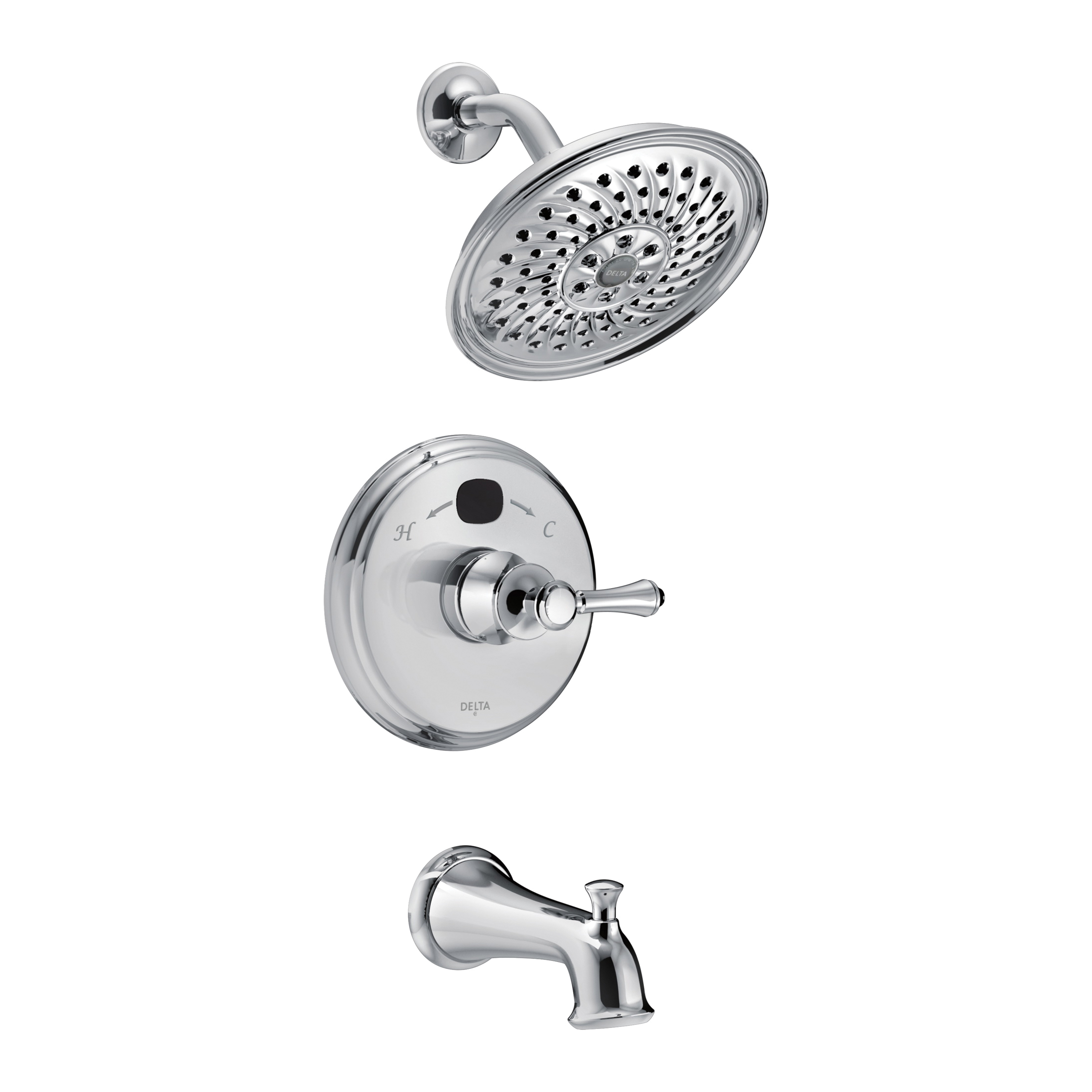 DELTA® T14400-T2O Monitor® 14 Traditional Tub and Shower Faucet Trim, 2 gpm Shower, Hand Shower Yes/No: No, Chrome Plated