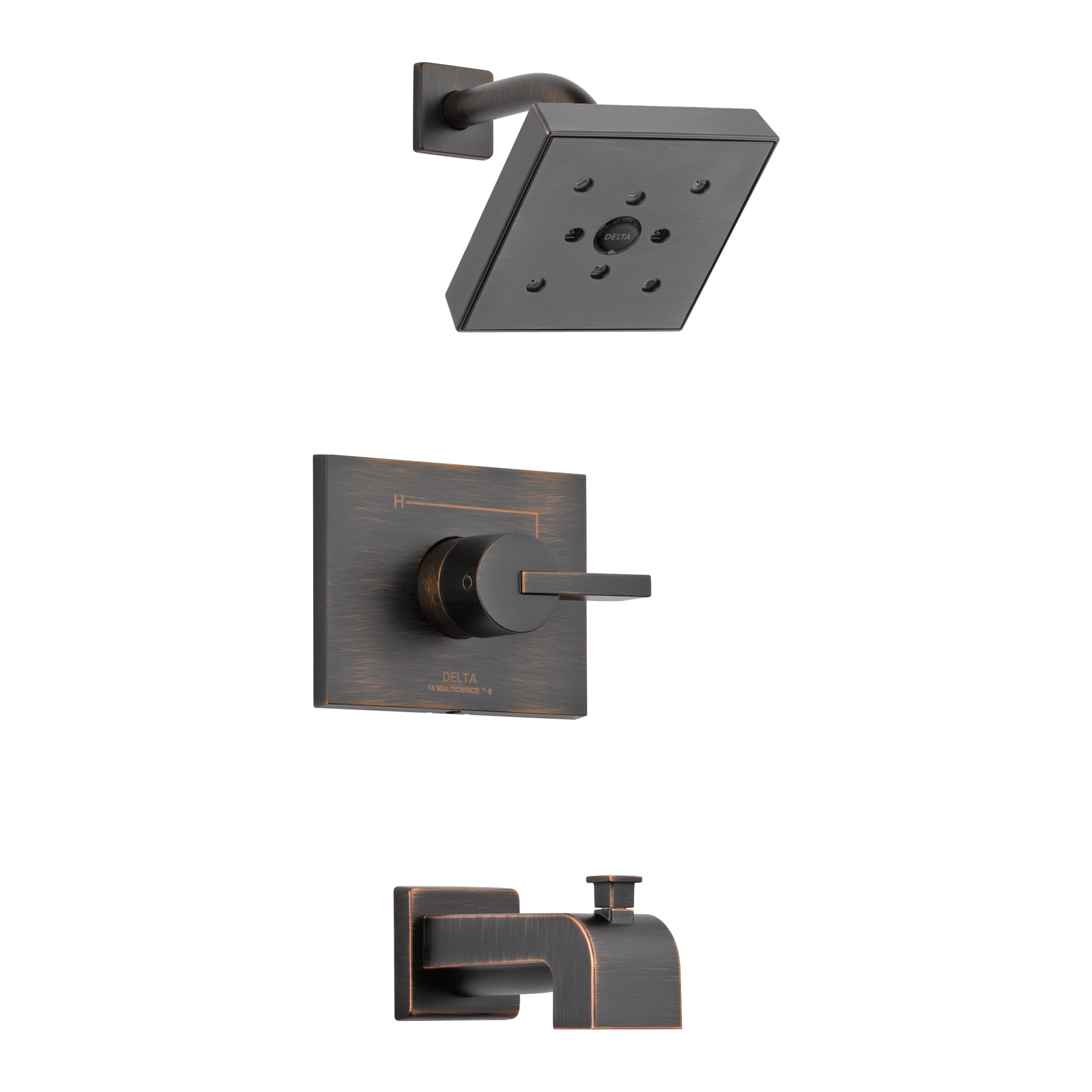 DELTA® T14453-RBH2O Monitor® 14 Tub and Shower Trim, 1.75 gpm Shower, Hand Shower Yes/No: No, Venetian Bronze