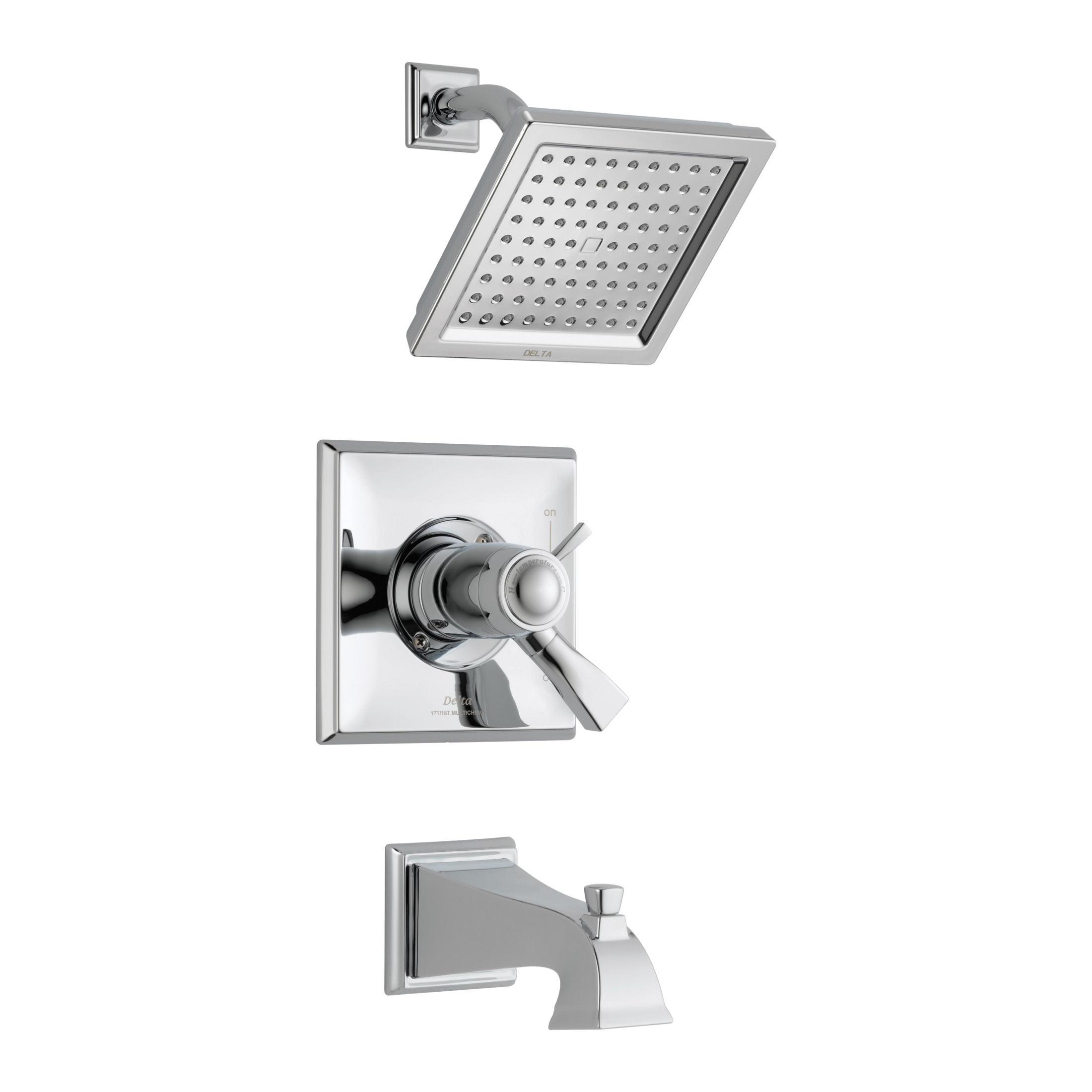 DELTA® T17T451 TempAssure® 17T Tub and Shower Trim, 2.5 gpm Shower, Hand Shower Yes/No: No, Chrome Plated