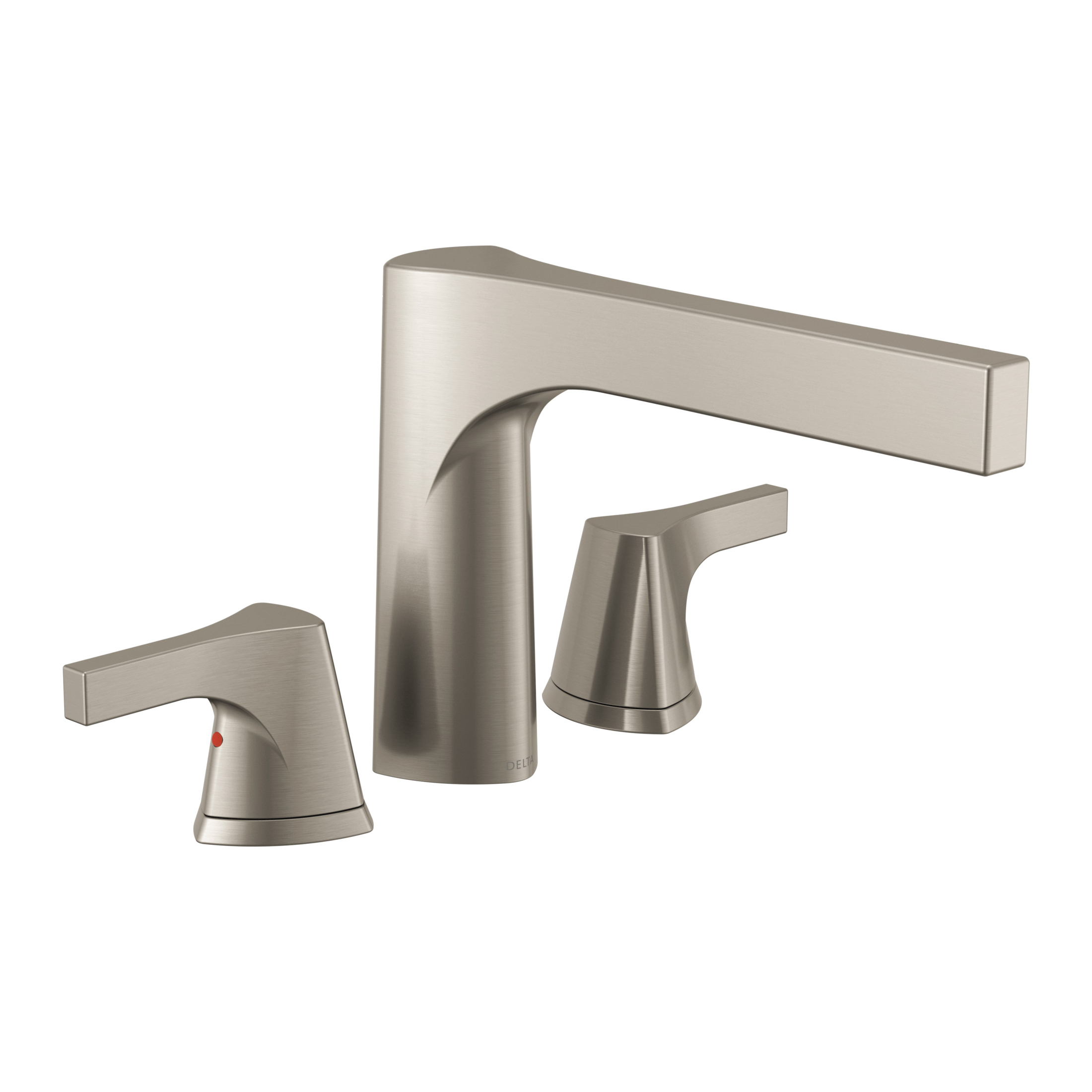 DELTA® T2774-SS Zura™ Roman Tub Trim, 2 gpm, 11 to 16 in Center, Stainless Steel, 2 Handles, Hand Shower Yes/No: No, Domestic