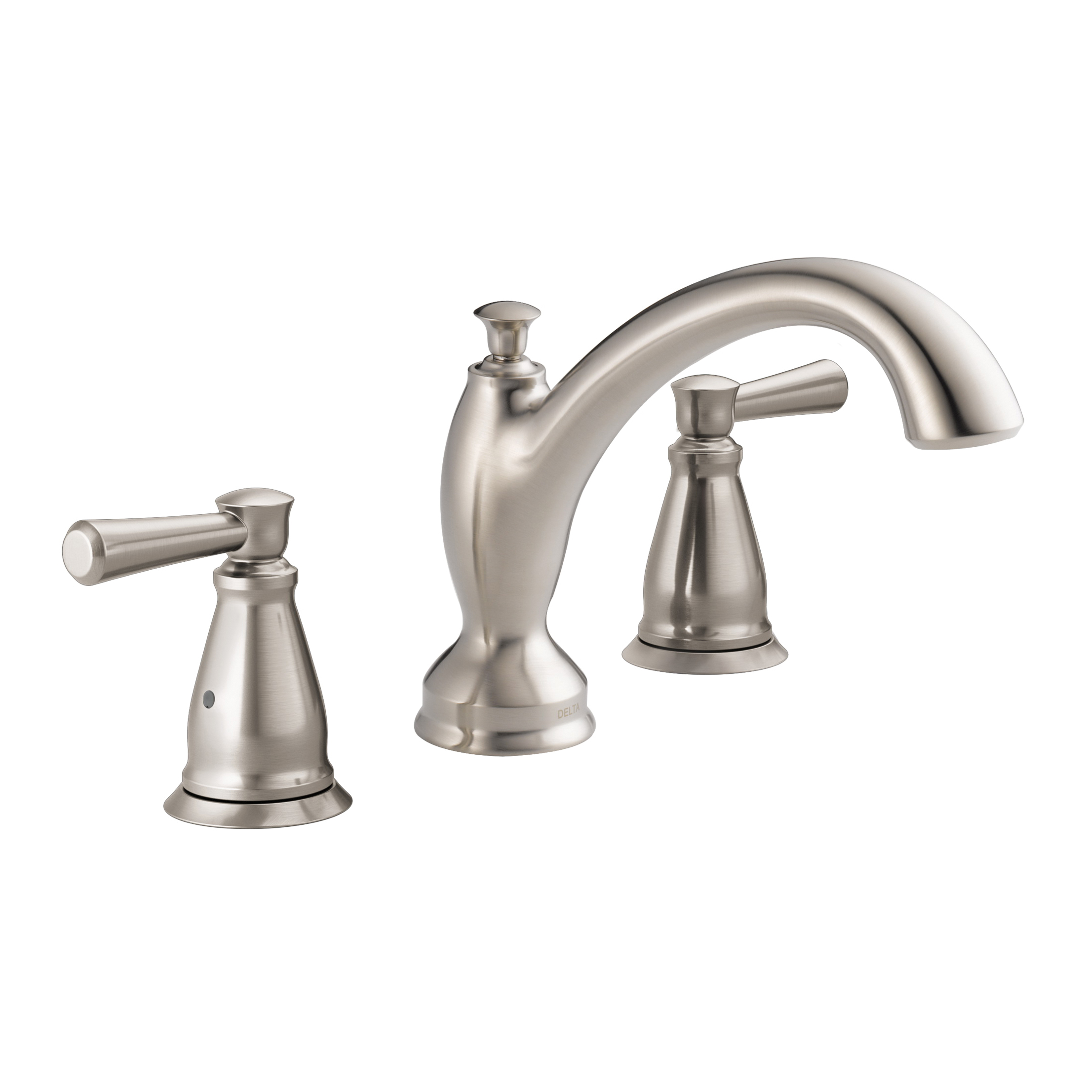 DELTA® T2793-SS Linden™ Roman Tub Trim, 2 gpm, 8 to 16 in Center, Stainless Steel, 2 Handles, Hand Shower Yes/No: No, Import