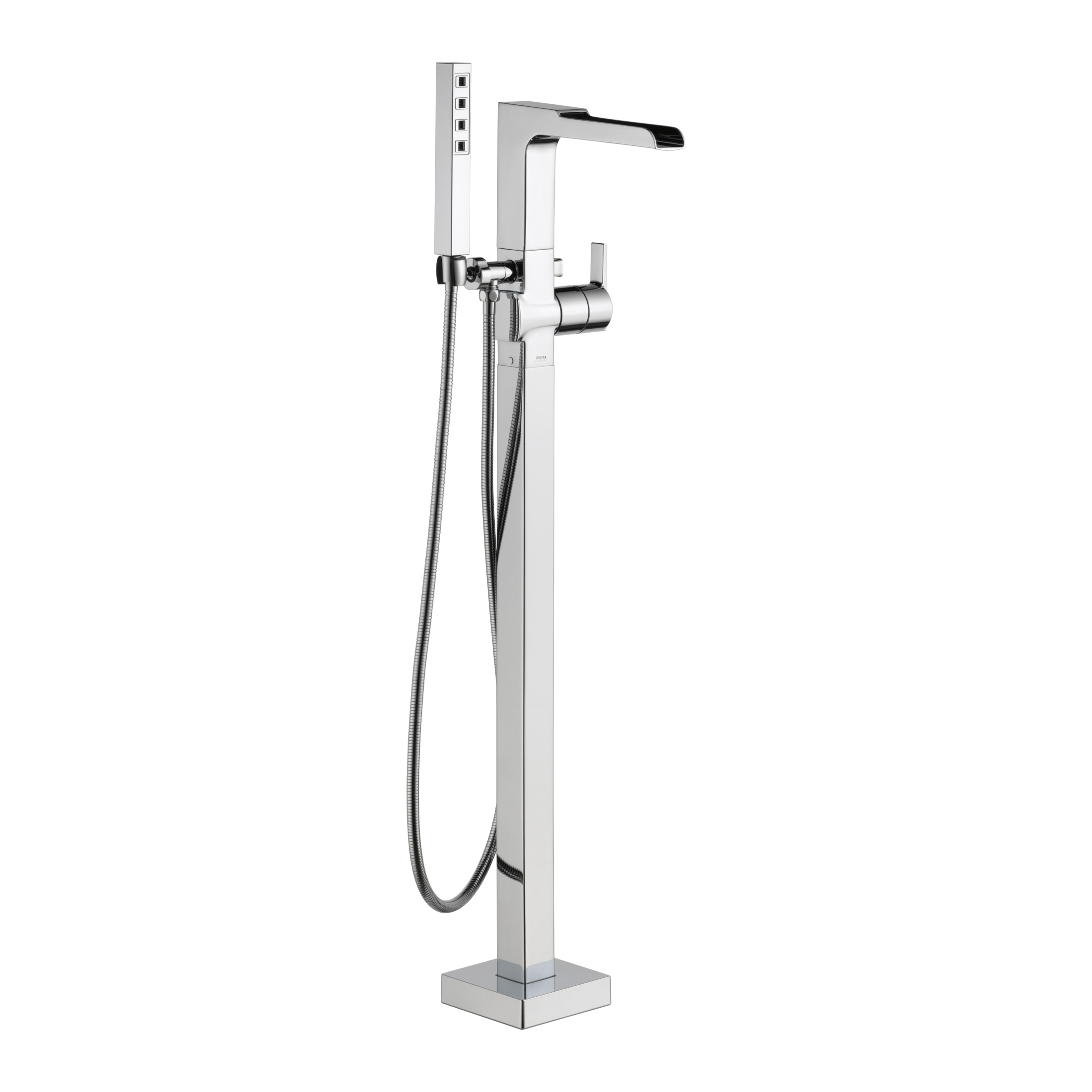 DELTA® T4768-FL Ara® Tub Filler, 2 gpm, Chrome Plated, 1 Handles, Hand Shower Yes/No: Yes, Domestic, Commercial