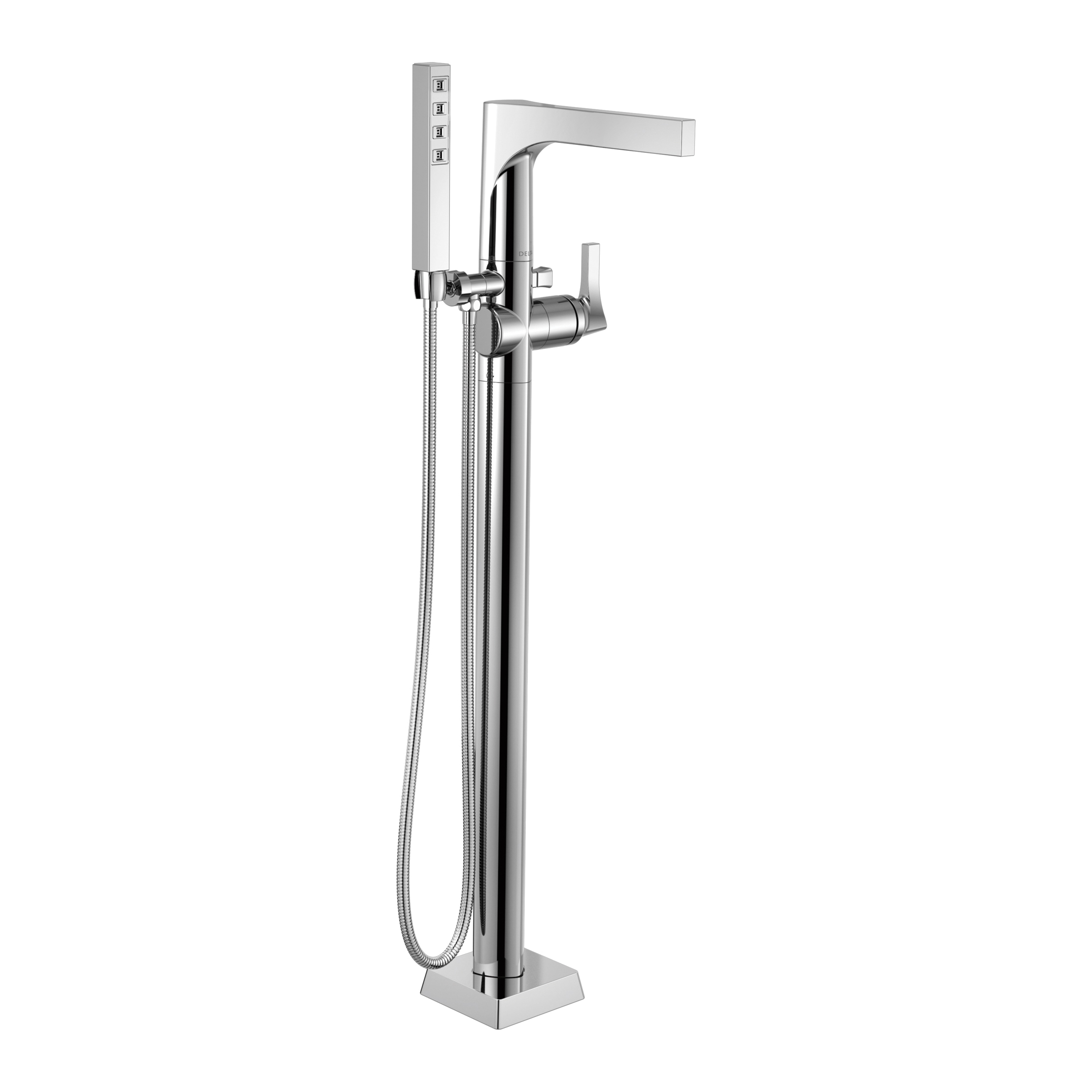 DELTA® T4774-FL Zura™ Tub Filler, 2 gpm, Chrome Plated, 1 Handles, Hand Shower Yes/No: Yes, Domestic, Commercial
