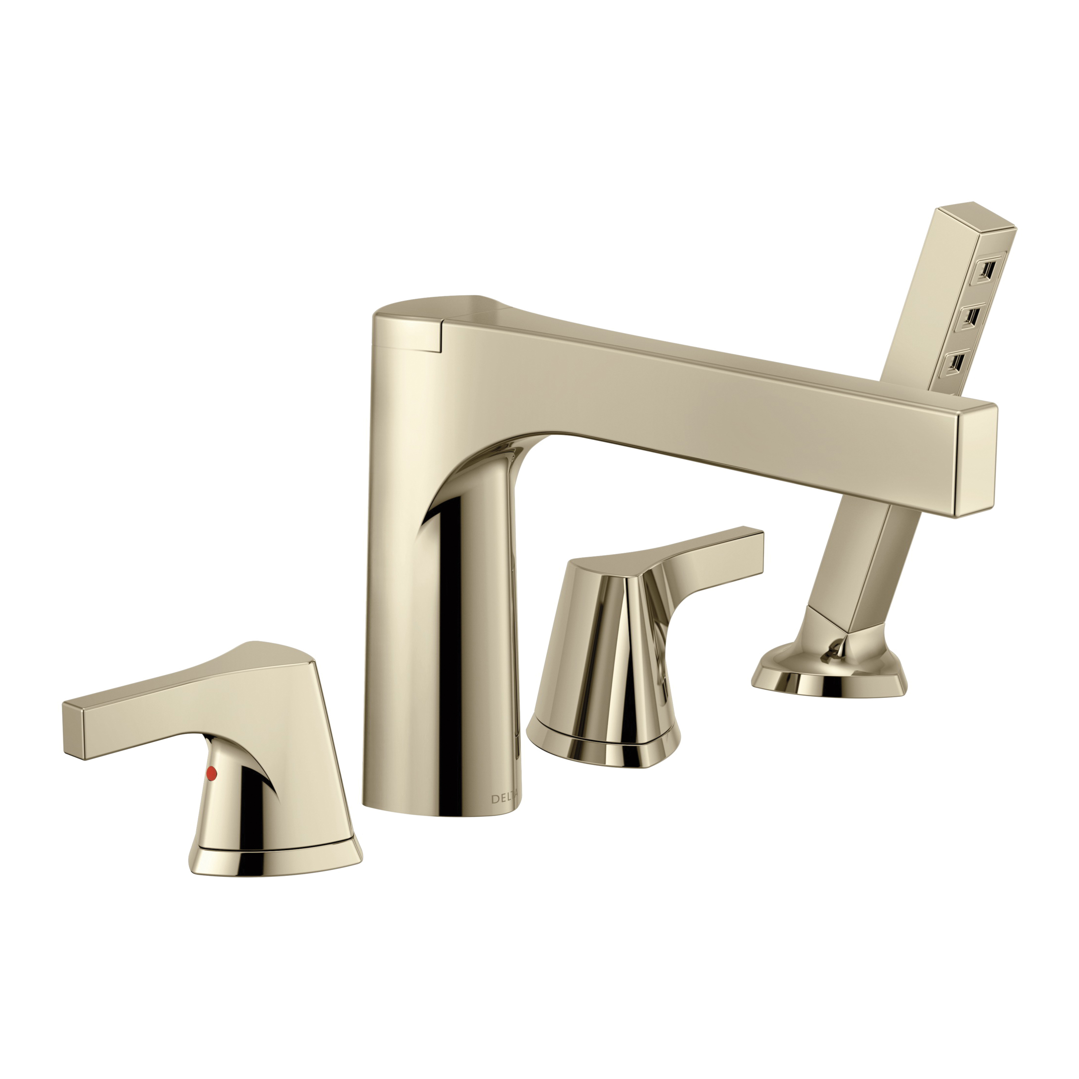 DELTA® T4774-PN Roman Tub Trim, Zura™, 2 gpm, 11 to 16 in Center, Polished Nickel, 2 Handles, Hand Shower Yes/No: Yes, Domestic
