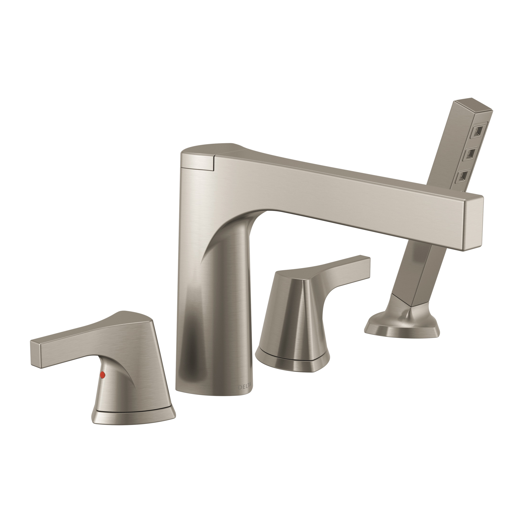 DELTA® T4774-SS Zura™ Roman Tub Trim, 2 gpm, 11 to 16 in Center, Stainless Steel, 2 Handles, Hand Shower Yes/No: Yes, Domestic