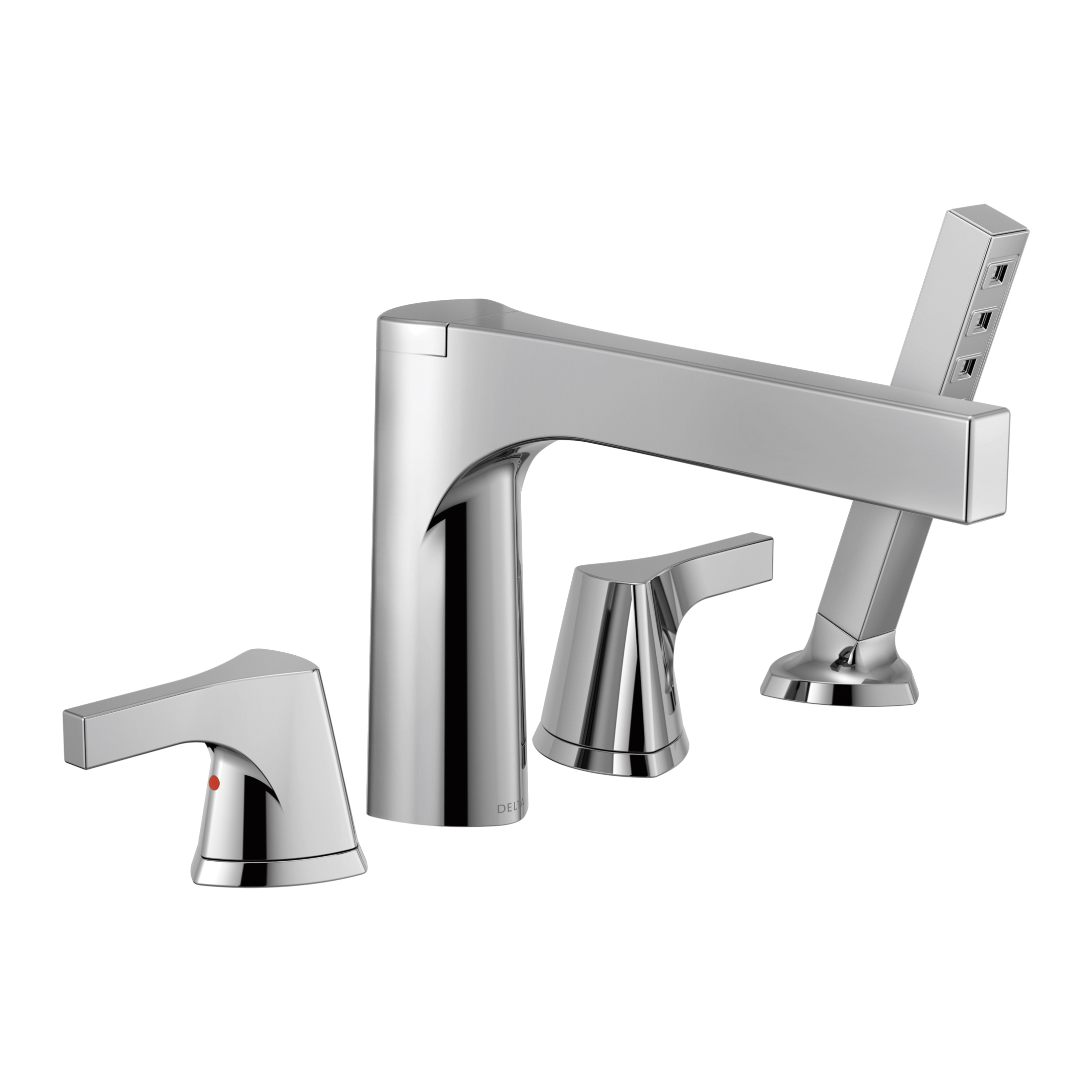 DELTA® T4774 Zura™ Roman Tub Trim, 2 gpm, 11 to 16 in Center, Chrome Plated, 2 Handles, Hand Shower Yes/No: Yes, Domestic