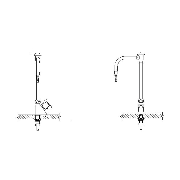 DELTA® W6600-10 Single Water Faucet, 4 gpm, 1 Handle, Chrome Plated, Import, Commercial