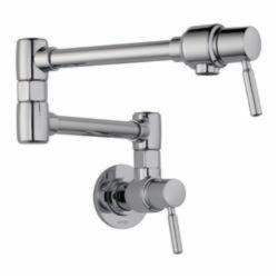 Brizo® 62820LF-PC Euro Pot Filler Faucet, 4 gpm, Chrome Plated, 2 Handles, Import