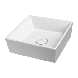 DXV D20085015.415 POP® Vessel Bathroom Sink, Square, 6-9/16 in H x 15 in W x 15 in D, Fine Fireclay, Canvas White, Import