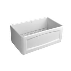DXV D20101000.415 Hillside™ Apron Front Kitchen Sink, 24 in W x 18-1/16 in D x 10-1/8 in H, Fine Fireclay, Canvas White