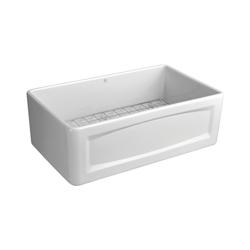DXV D20102000.415 Hillside™ Apron Front Kitchen Sink, 30 in W x 18-1/16 in D x 10-1/8 in H, Fine Fireclay, Canvas White