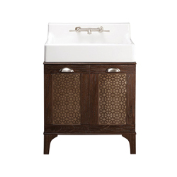 DXV D20155002.415 Oak Hill™ Bathroom Vanity With Sink, 8 in Faucet Hole Spacing, 41-1/8 in H x 30-1/2 in W x 22-1/4 in D, Fine Fireclay, Canvas White