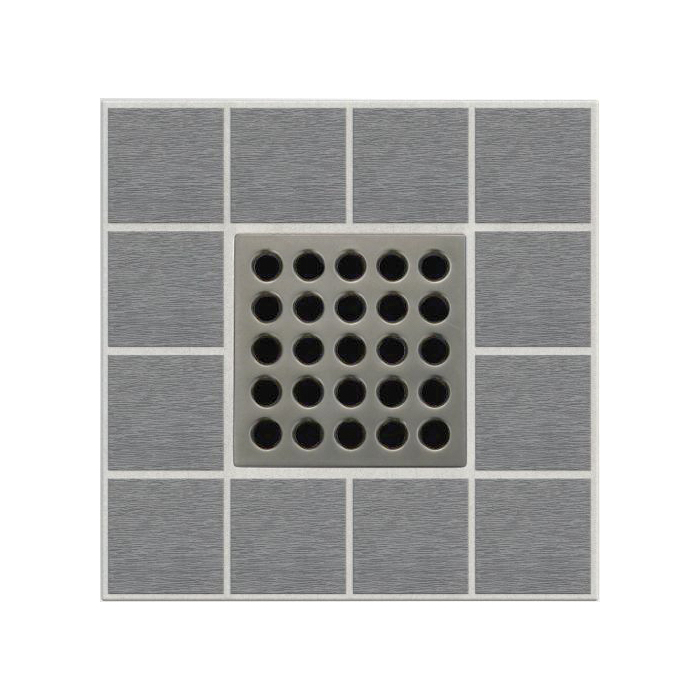 Ebbe America E4405 Shower Drain Grate, Square Pattern, 3.16 sq-in, 11 gpm, Stainless Steel/Polycarbonate
