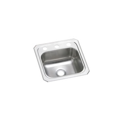 Elkay® BCR153 Bar Sink, Celebrity, Square, 12 in L x 10 in W x 6 in D Bowl, 3 Faucet Holes, 15 in L x 15 in W x 6-1/8 in D, Top Mount, Stainless Steel, Brushed Satin