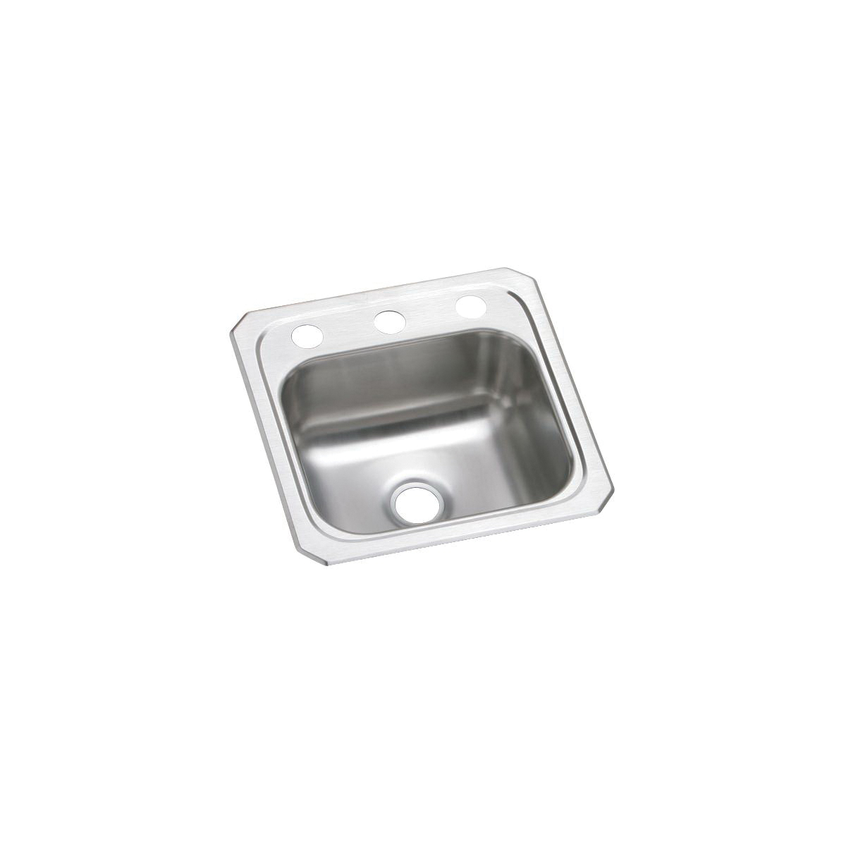Elkay® BCR152 Celebrity Bar Sink, Square, 2 Faucet Holes, 15 in W x 6-1/8 in D x 15 in H, Top Mount, Stainless Steel, Brushed Satin, Domestic