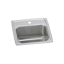 Elkay® BLR151 Bar Sink, Lustertone™, Square, 12 in L x 9-1/4 in W x 7 in D Bowl, 1 Faucet Holes, 15 in L x 15 in W x 7-1/8 in D, Top Mount, 18 ga 304 Stainless Steel, Lustrous Satin
