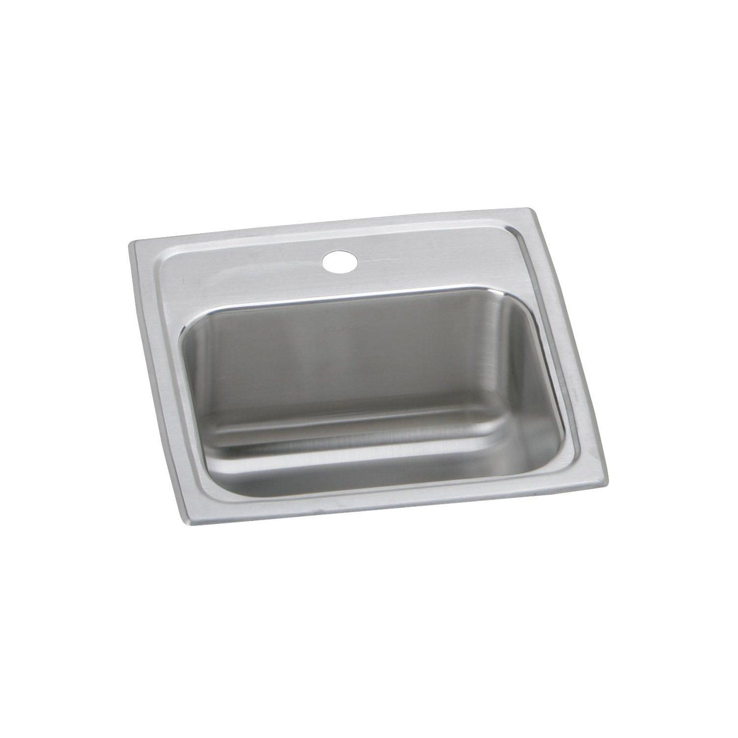 Elkay® BLR152 Gourmet Bar Sink, Square, 2 Faucet Holes, 15 in W x 15 in D x 7-1/8 in H, Top Mount, Stainless Steel, Lustertone, Domestic