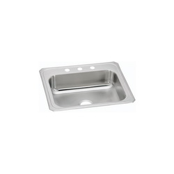 Elkay® CR25223 Celebrity Kitchen Sink, Rectangular, 3 Faucet Holes, 25 in W x 22 in D x 7 in H, Top Mount, Stainless Steel, Brushed Satin, Domestic