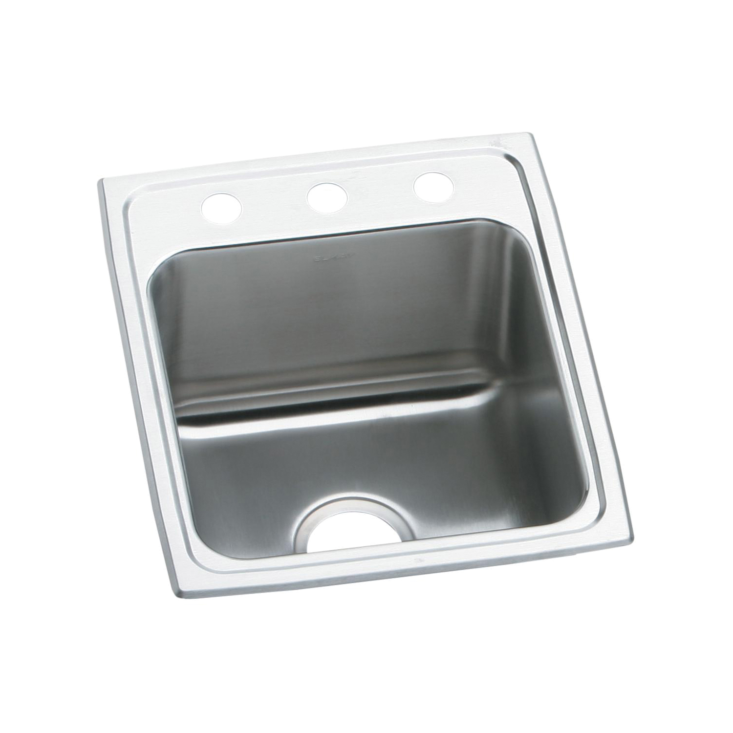 Elkay® DLR1722103 Gourmet Kitchen Sink, Rectangular, 3 Faucet Holes, 17 in W x 22 in D x 10-1/8 in H, Top Mount, Stainless Steel, Lustertone, Domestic