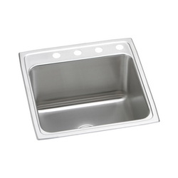 Elkay® DLR2022103 Kitchen Sink, Gourmet, Rectangular, 16 in L x 16 in W x 10 in D Bowl, 3 Faucet Holes, 19-1/2 in L x 22 in W x 10-1/8 in H, Top Mount, Stainless Steel, Lustertone