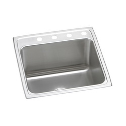 Elkay® DLR2222123 Gourmet Kitchen Sink, Square, 3 Faucet Holes, 22 in W x 22 in D x 12-1/8 in H, Top Mount, Stainless Steel, Lustertone, Domestic