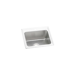 Elkay® DLR2522103 Gourmet Kitchen Sink, Rectangular, 3 Faucet Holes, 25 in W x 22 in D x 10-3/8 in H, Top Mount, Stainless Steel, Lustertone, Domestic