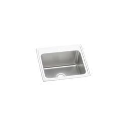 Elkay® DLR2522102 Kitchen Sink, Gourmet, Rectangular, 21 in L x 15-3/4 in W x 10 in D Bowl, 2 Faucet Holes, 25 in L x 22 in W x 10-3/8 in H, Top Mount, Stainless Steel, Lustertone