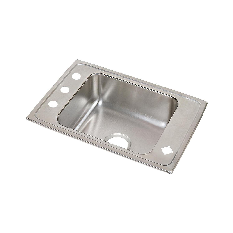 Elkay® DRKAD2517652FRM Classroom Sink, Rectangular, 17 in W x 6-1/2 in H, Top Mount, Stainless Steel, Lustertone, Domestic
