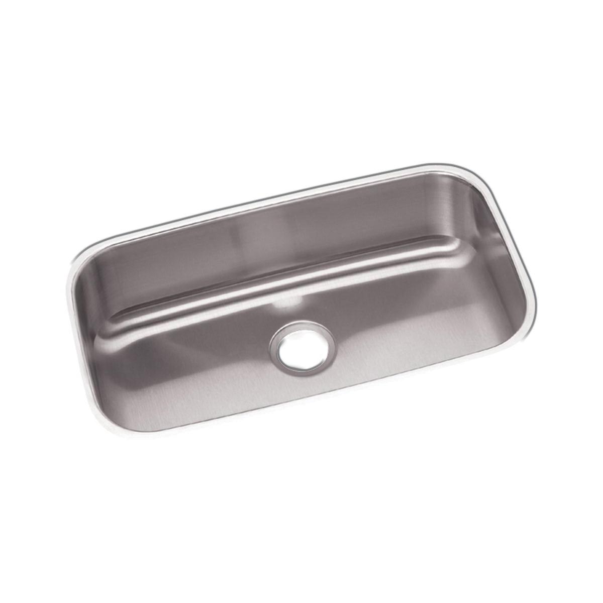 Elkay® DXUH2816 Dayton® Kitchen Sink, Rectangular, 18-1/4 in W x 8 in D x 30-1/2 in H, Under Mount, Stainless Steel, Radiant Satin, Domestic