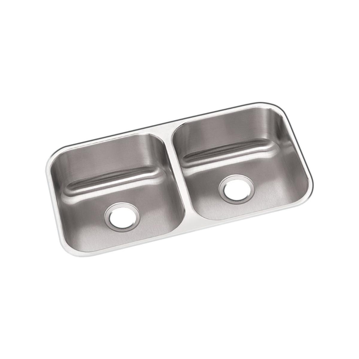 Elkay® DXUH3118 Dayton® Kitchen Sink, Rectangular, 18-1/4 in W x 8 in D x 31-3/4 in H, Under Mount, Stainless Steel, Radiant Satin, Domestic