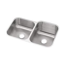 Elkay® DXUH312010L Dayton® Offset Kitchen Sink, Rectangular, 20-1/2 in W x 10 in D x 31-3/4 in H, Under Mount, Stainless Steel, Radiant Satin, Domestic