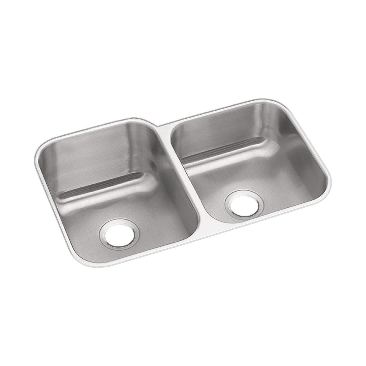 Elkay® DXUH312010R Dayton® Offset Kitchen Sink, Rectangular, 20-1/2 in W x 10 in D x 31-3/4 in H, Under Mount, Stainless Steel, Radiant Satin, Domestic