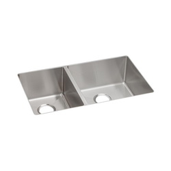 Elkay® ECTRU32179L Crosstown™ Kitchen Sink, 18-1/2 in W x 9 in D x 31-1/2 in H, Under Mount, Stainless Steel, Polished Satin, Import
