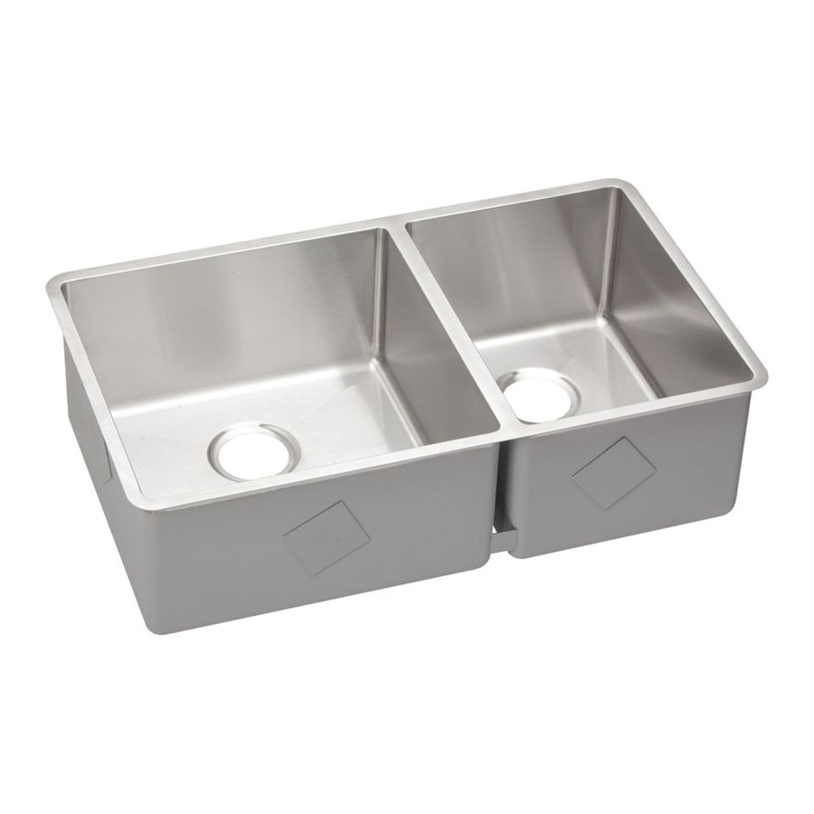 Elkay® ECTRU32179R Crosstown™ Kitchen Sink, 17 in L x 17 in W x 9 in H Left, 12 in L x 17 in W x 9 in H Right
