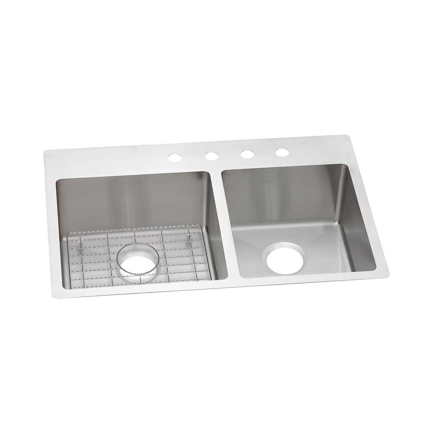 Elkay® ECTSRO33229RBGFR2 Crosstown™ Dual Mount Sink Kit, Rectangular, 2 Faucet Holes, 22 in W x 33 in D x 9 in H, Top/Under Mount, Stainless Steel, Polished Satin, Import