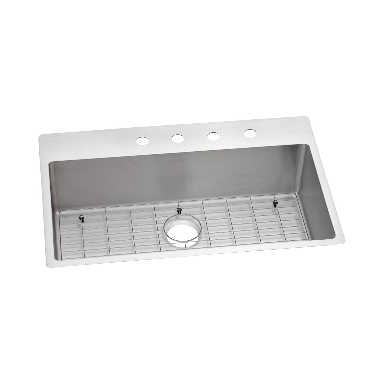 Elkay® ECTSRS33229BGFR2 Crosstown™ Dual Mount Sink Kit, Rectangular, 2 Faucet Holes, 22 in W x 33 in D x 9 in H, Top/Under Mount, Stainless Steel, Polished Satin, Import